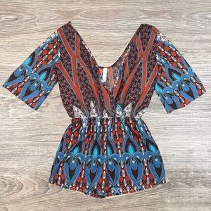 🛍Candy rose Tribal Print dressy romper size small